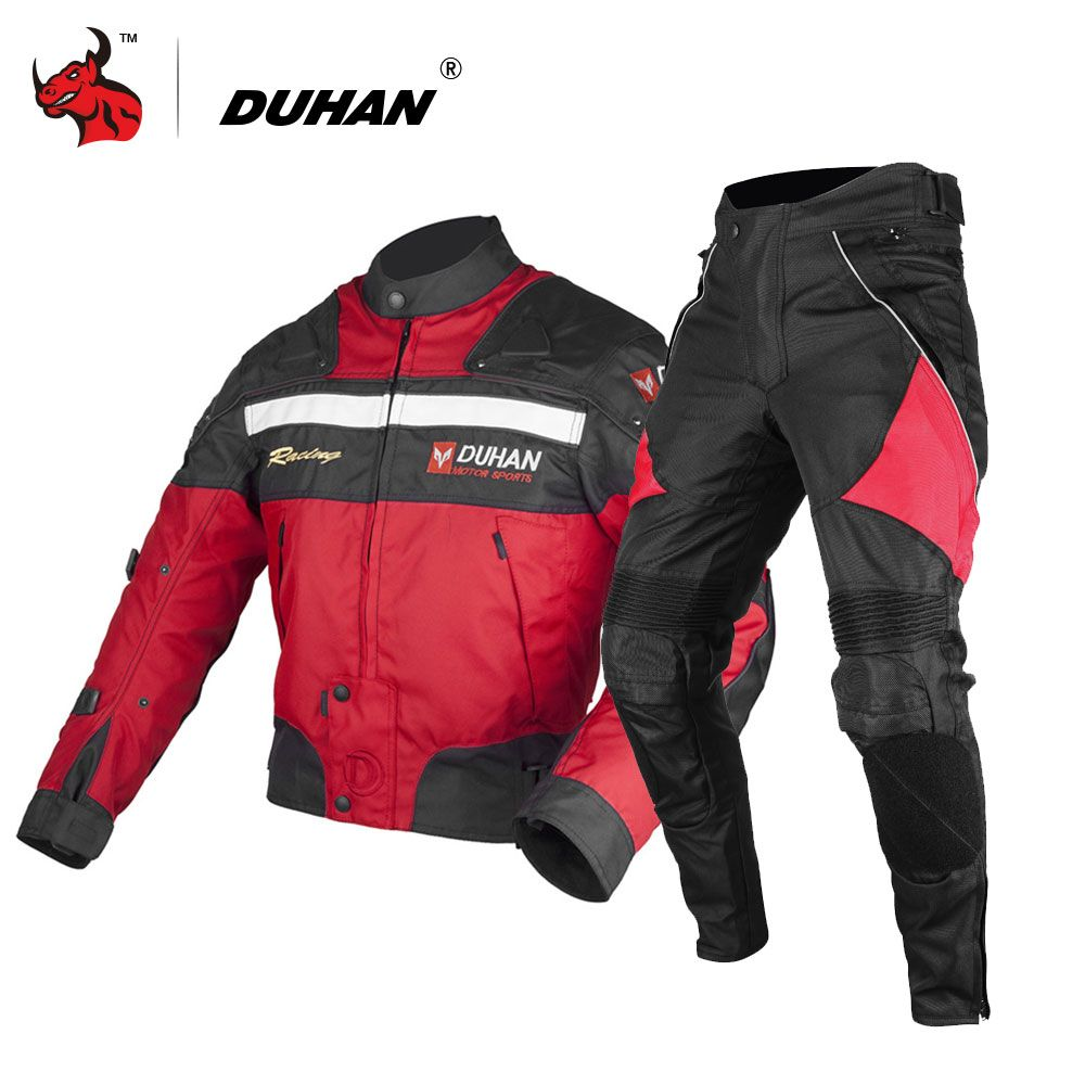 DUHAN 4 Farbe Motorrad Jacke + Motorrad Hosen Männer Motorradsport Motocross Jacken & hosen Anzüge Winter Motorrad Anzug