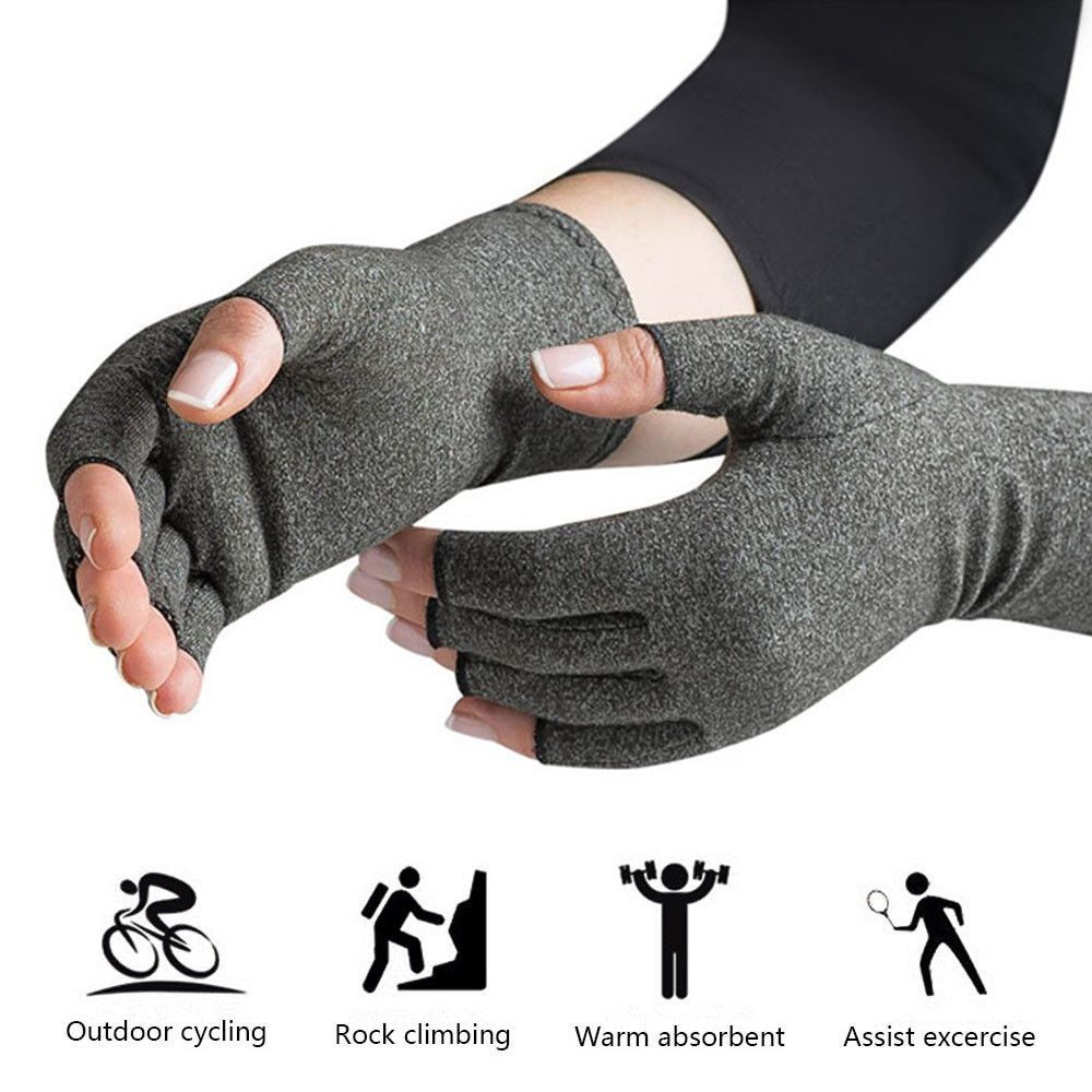 1 Pair Womens Mens Cotton Therapy Compression Gloves Hand Arthritis Joint Pain Relief Light Grey Size S/M/L Drop Shipping