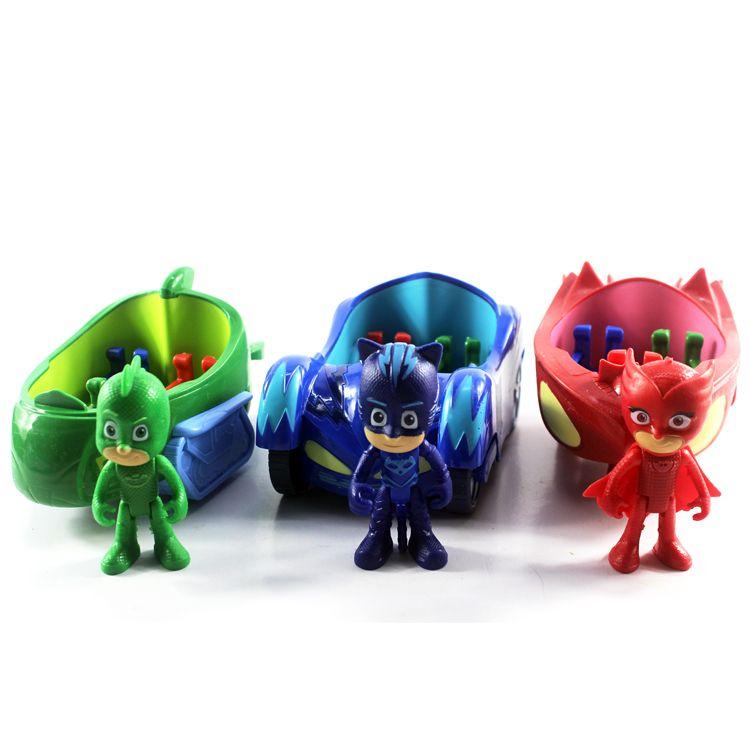 3pcs/lot Pj Characters Catboy Gekko Cloak Action Figure Freddy Toys Boy Gift 3.5inch Doll With 3 Seats Car Pj Mask Cartoon Model