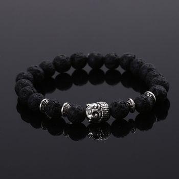 2015 Fashion jewelry Natural stone buddha beads bracelet men elastic rope chain charm bracelet for women Pulseras mujer