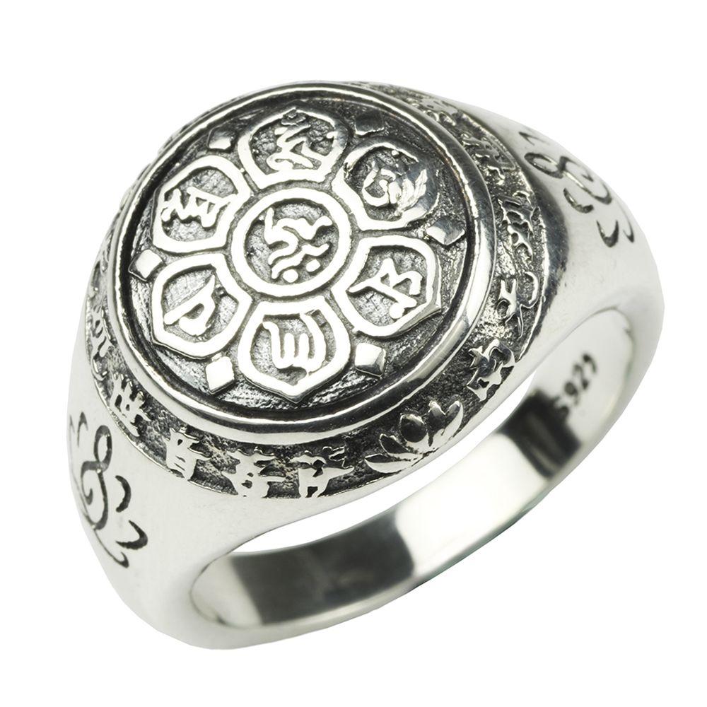 Аутентичные 925 Серебряные ювелирные изделия Винтаж Будды Шесть слова Мантра Кольца для Для женщин и Для мужчин бижутерия тонкие