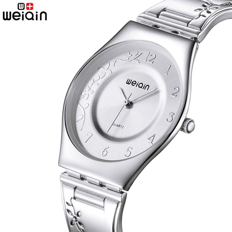 WEIQIN Brand 7mm Ultra Slim Quartz Watch Woman Strap Carving Silver Women Watches Luxury Reloj Mujer Fashion <font><b>Montre</b></font> Femme 2018