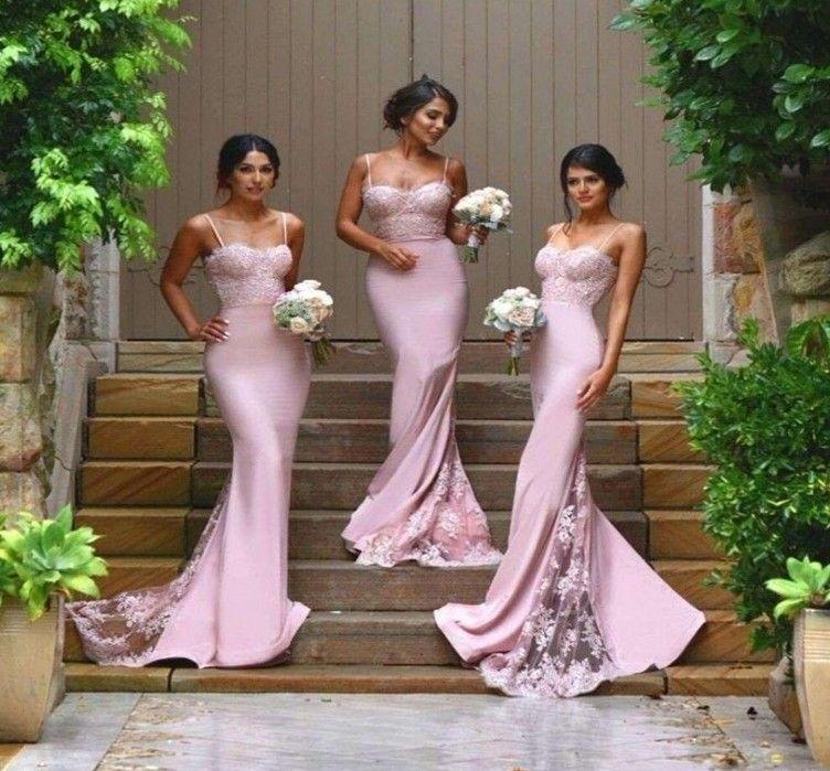 Sexy Brautjungfer Kleider Spaghetti Vestido De Festa De Casamento Sheer Spitze Applique Blush Pfirsich Lange Brautjungfer Kleider