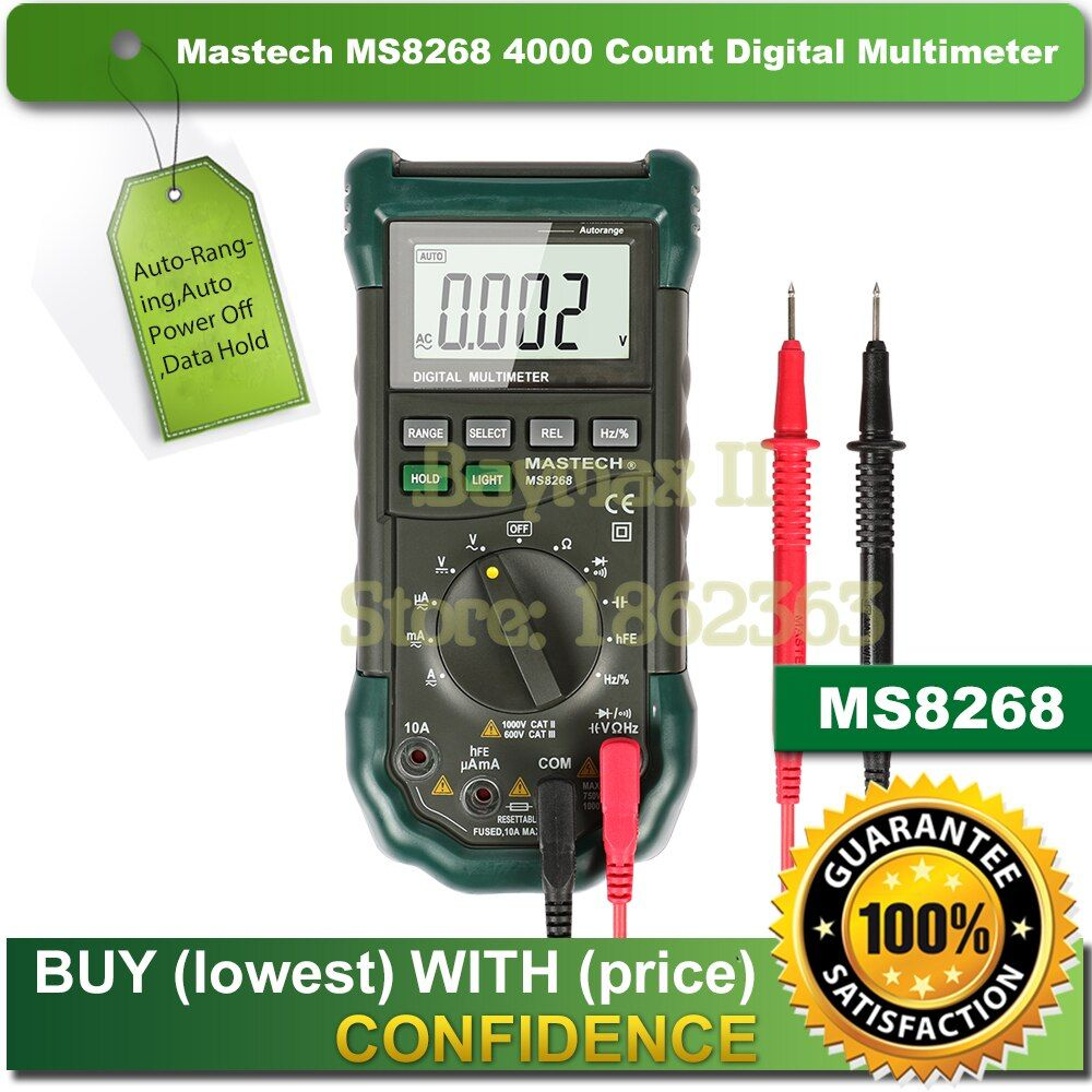 Mastech MS8268 Digital AC/DC Auto/Manual Range Digital Multimeter with hFE,Data Hold,Relative Measurement and Auto Power Off