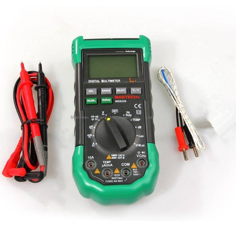 Original Mastech MS8229 5 in1 Auto range Digital Multimeter Multifunction Lux Sound Level Temperature Humidity Tester Meter