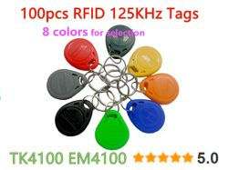 100pcs 125Khz RFID Tag Proximity Keyfobs Ring Access Control Card 8 Colour for Access Control Time Attendance