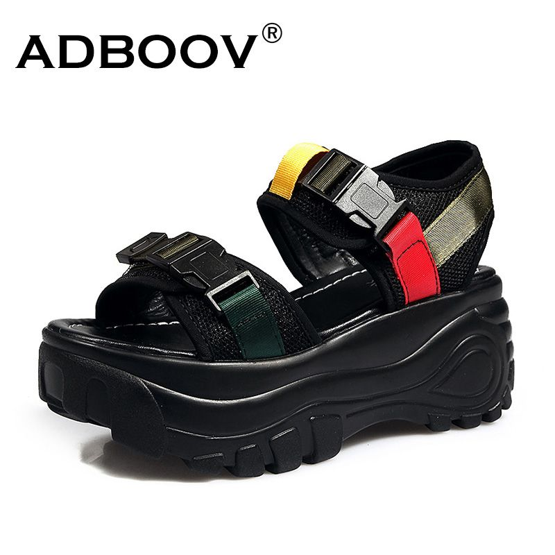 ADBOOV New Platform Wedge Sandals Women Thick Sole Open Toe Summer Beach Sandalias Mujer 2019 Buckle Casual Chunky Shoes Woman