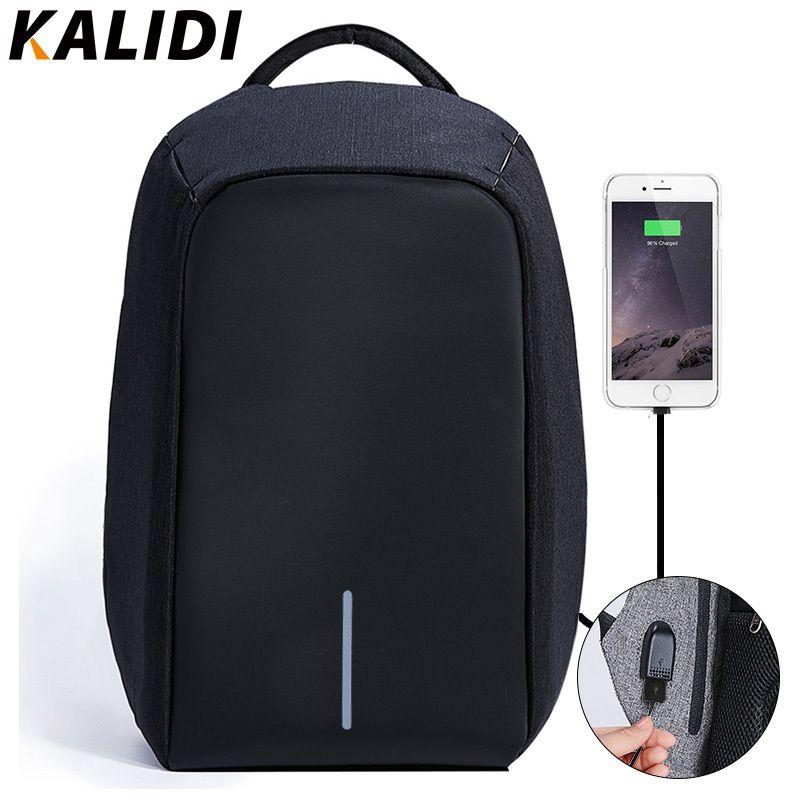 KALIDI USB Charger Ordinateur Portable Sac pour Mackbook 13.3-15.6 pouce Portable Sac Étanche Anti Vol Ordinateur Portable Sac À Dos pour Hommes Sac d'école