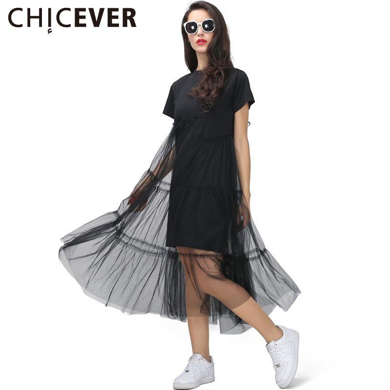 [CHICEVER] D'été Coréenne Plus La Taille Épissage Plissée Maille T chemise Robe Femmes Noir Gris Couleur Vêtements Nouvelle Mode
