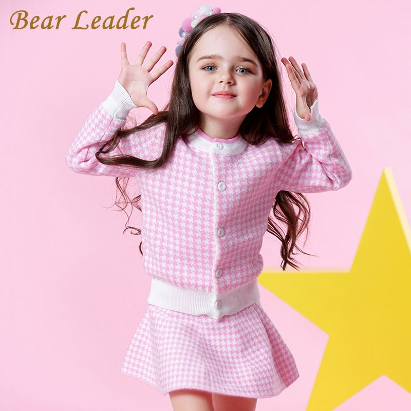 Bear Leader Girls Sets 2017 New Autumn Pink Houndstooth Knitted Suits Long Sleeve Plaid Sweater+Skit 2Pcs Kids Suits For 3-7Y