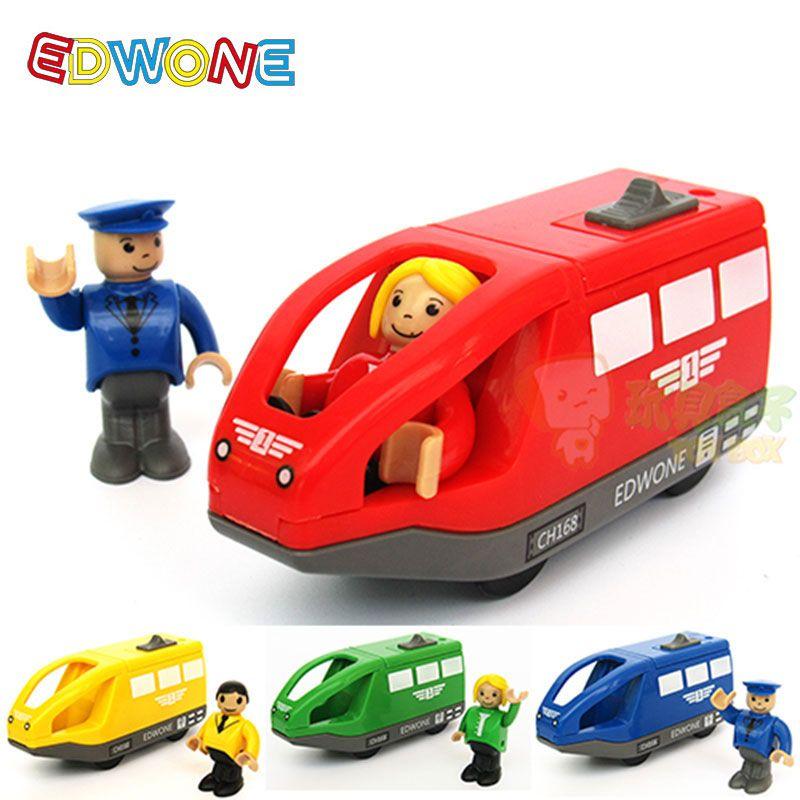 EDWONE 11*5.5 CM 4 Couleur Enfants Train Électrique Jouets Cadeaux D'anniversaire Pour Enfants Magnétique Fente En Bois Moulé Sous Pression Électronique véhicule Jouet