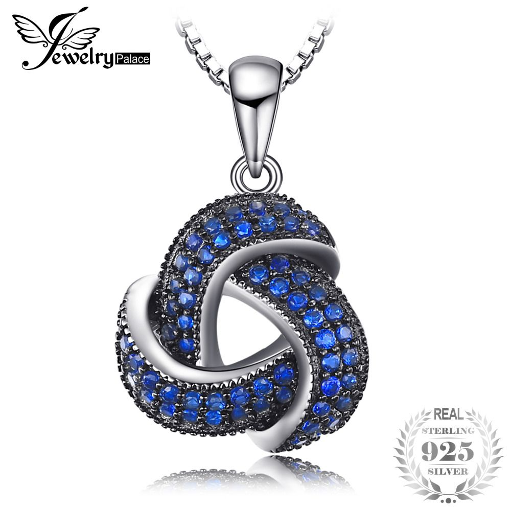 JewelryPalace 0.5ct Created Blue Spinel Flower Wraparound Cluster Pendant Necklace 925 Sterling Silver 45cm Box Chain for Women