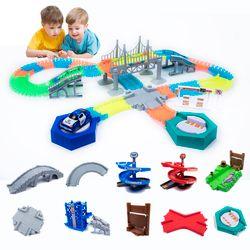 Piste magique drôle Lumineux Piste de Course Lueur dans le foncé voiture de course DIY piste Accessoires cadeaux jouets Éducatifs pour enfants garçon