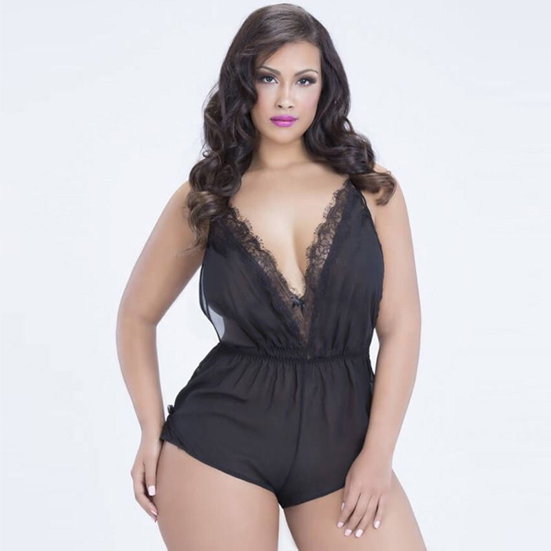 Europe and the United States women's plus-size sexy lingerie lace open chest harness jumpsuits exotic pajamas