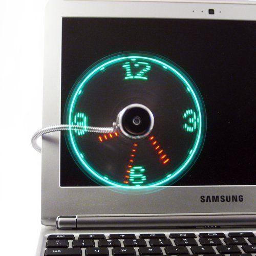 Ajustable reloj de escritorio del ventilador del usb gadget usb luz led de refrigeración gadget con cable flexible usb powered