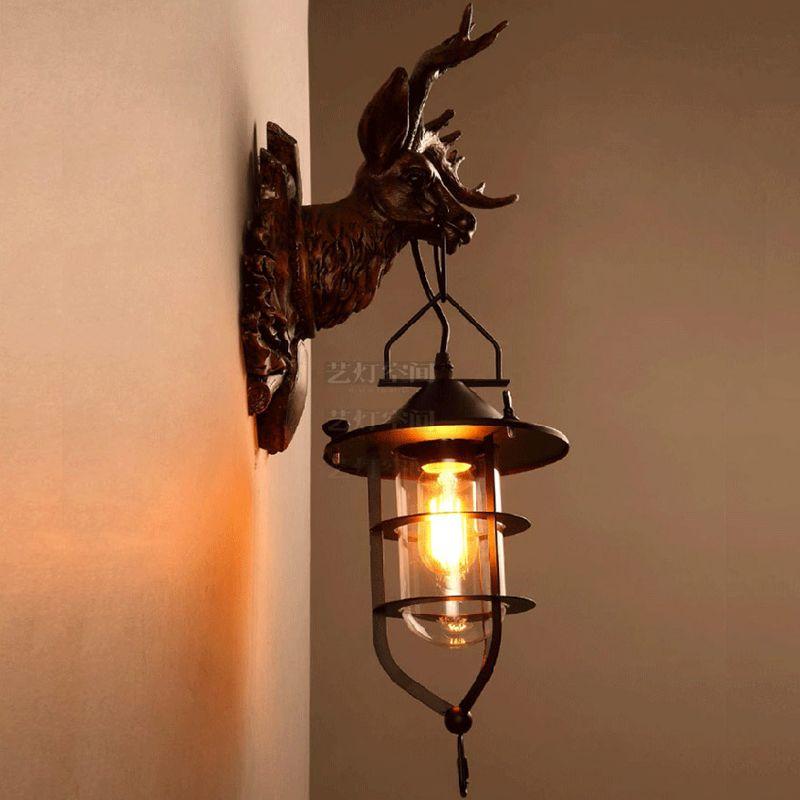 Wohnzimmer Flur Deer Wandleuchte Vintage Kreative Amerikanischen Schlafzimmer Nacht Geweih Wandleuchte LED E27 edison-birne