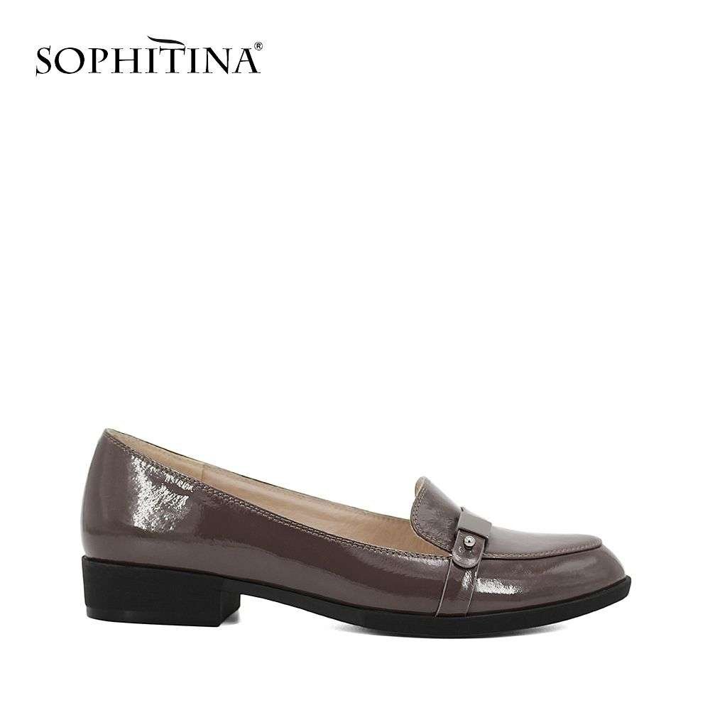 SOPHITINA Low heels Square heels pumps Metal decoration Casual Round Toe high quality Black Gray Patent Leather woman shoes D026