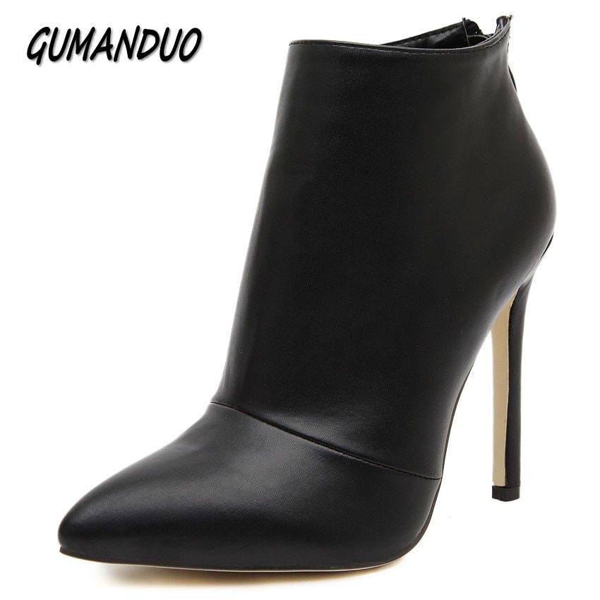 GUMANDUO women pumps high heels boots shoes woman pointed toe wedding party dress stiletto ladies short ankle boots size 35-40