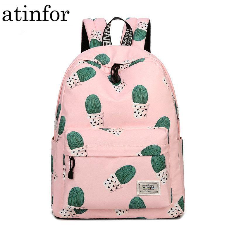 Imperméable à l'eau fée balle plante impression sac à dos femmes Cactus Bookbag mignon sac d'école pour les adolescentes Kawaii rose sac à dos