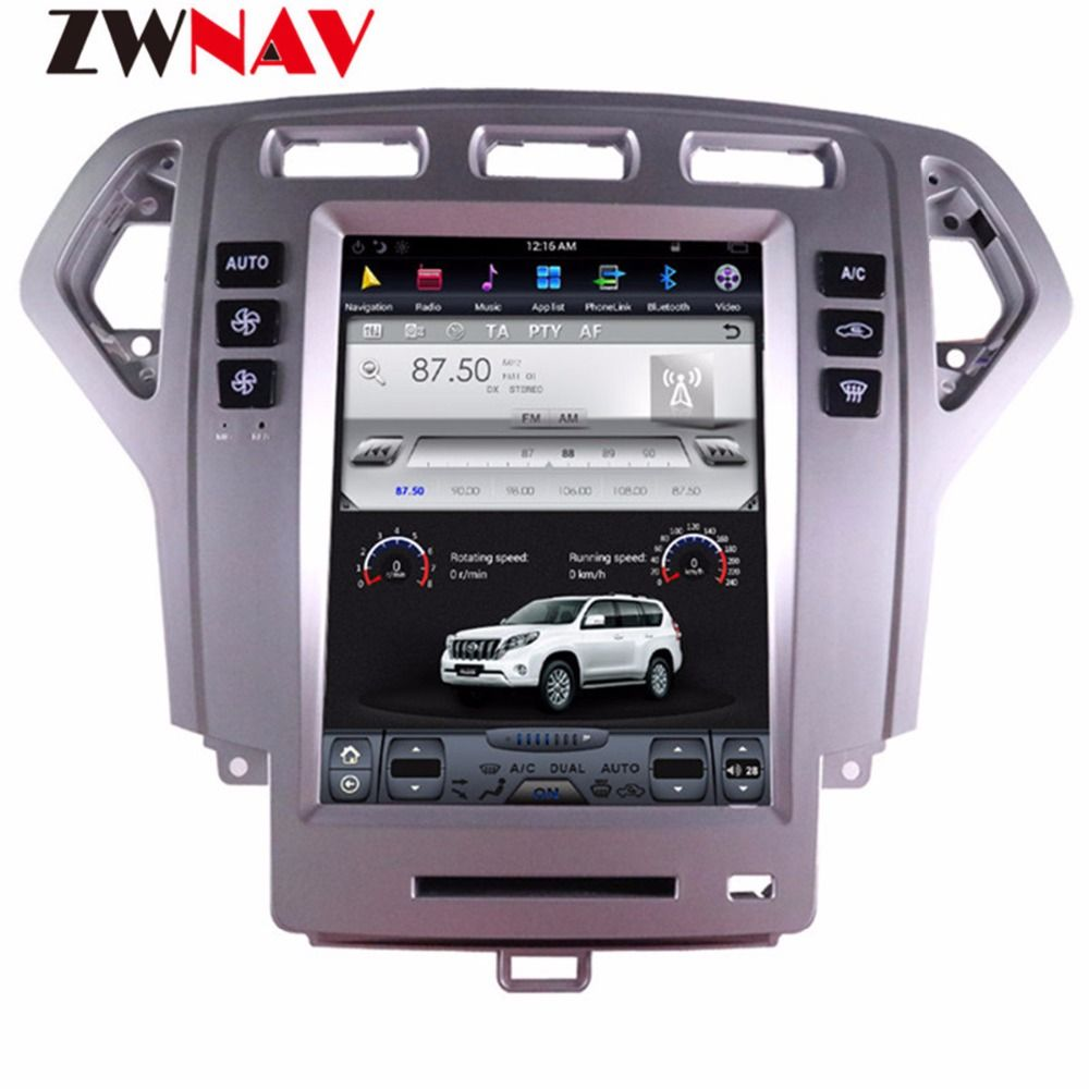 ZWNVA Tesla style Screen Android 7.1 Car Player GPS Navigation Radio Screen For Ford Mondeo MK4 2007-2012
