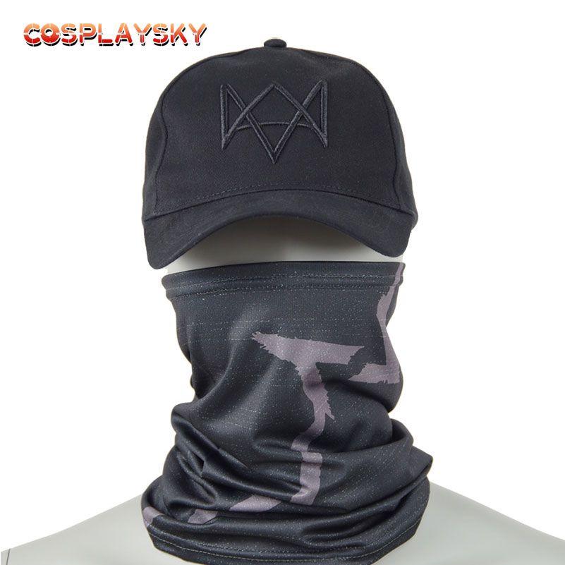 Aiden Pearce Cosplay Masken Hut Kostüm Schwarz Baseball Kappe Party Halloween Maske Uhr Hunde 2 Maske Verstellbaren Riemen Caps