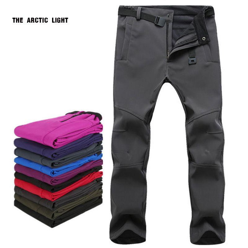 La lumière arctique chaud hiver femme hommes en plein air Camping & randonnée pantalon doux coquille imperméable polaire coupe-vent pantalon pantalon de ski