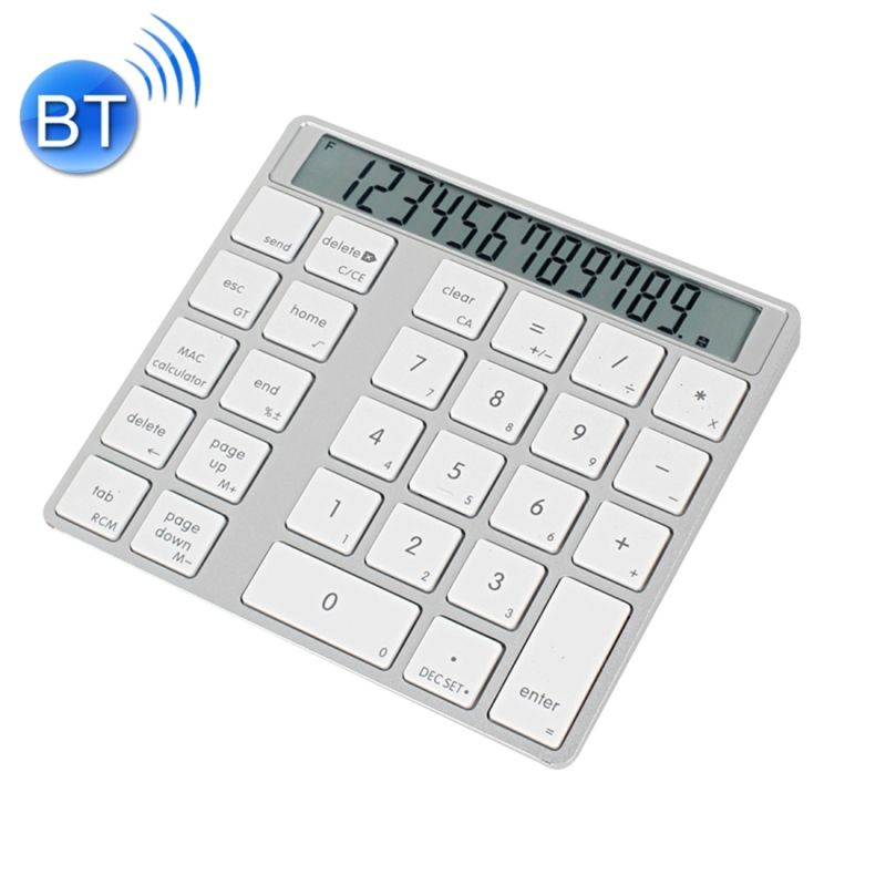 MC Saite MC-58AG USB Charging Bluetooth 3.0 Numeric Keyboard with 12-digit Display& LED indicator for Laptop Desktop PC Notebook