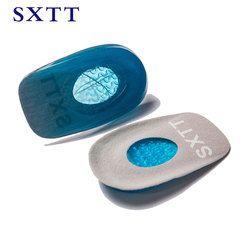 SXTT nuevas plantillas de Gel de silicona almohadilla de talón para Calcaneal Pain salud pies cuidado soporte spur pies sílice cojín almohadillas