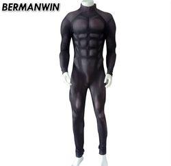 BERMANWIN Kualitas Tinggi Baru Hitam Otot Suit Lycra Spandex Kostum Dengan Padding Otot Dasar Otot Kostum untuk halloween
