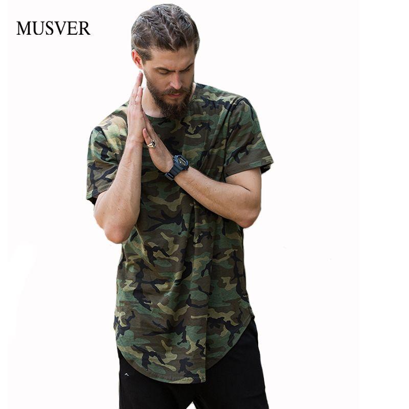MUVER Marque Oversize Camo T chemises Hommes 2019 D'été Ourlet Incurvé Camouflage À La Palangre T chemises Hommes Coton T-shirt Homme streetwear