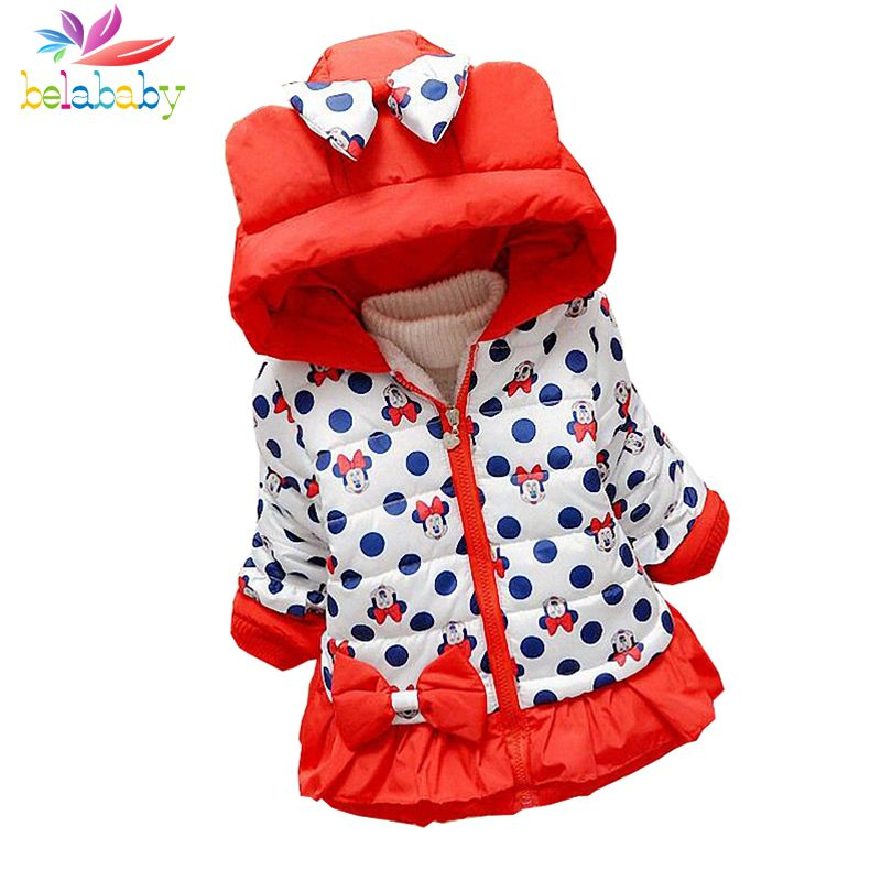 Belababy Bébé Filles Manteau D'hiver Nouveau Mignon Enfants Polka Dot Veste À Capuche Enfants Épaissir Coton Survêtement de Bande Dessinée Vestes Pour Fille