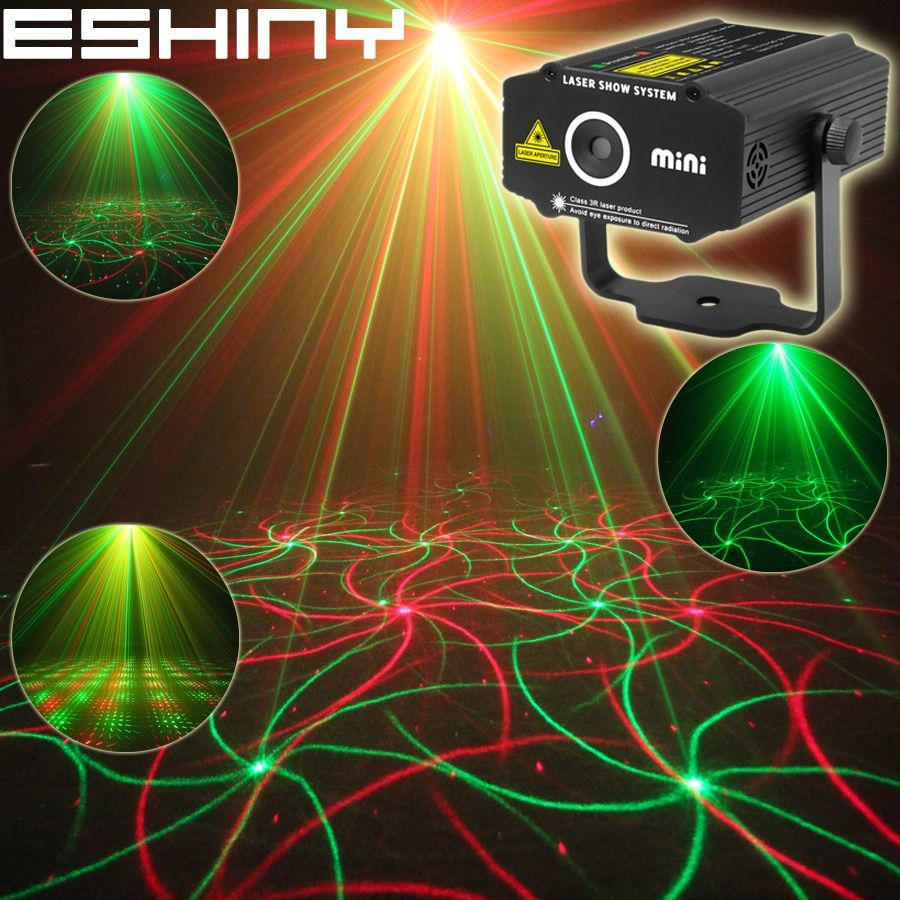 ESHINY Mini 2in1 Pattern Effect R&G Audio Star Whirlwind Laser Projector Stage Disco DJ Club Bar KTV Family Party Light Show P14