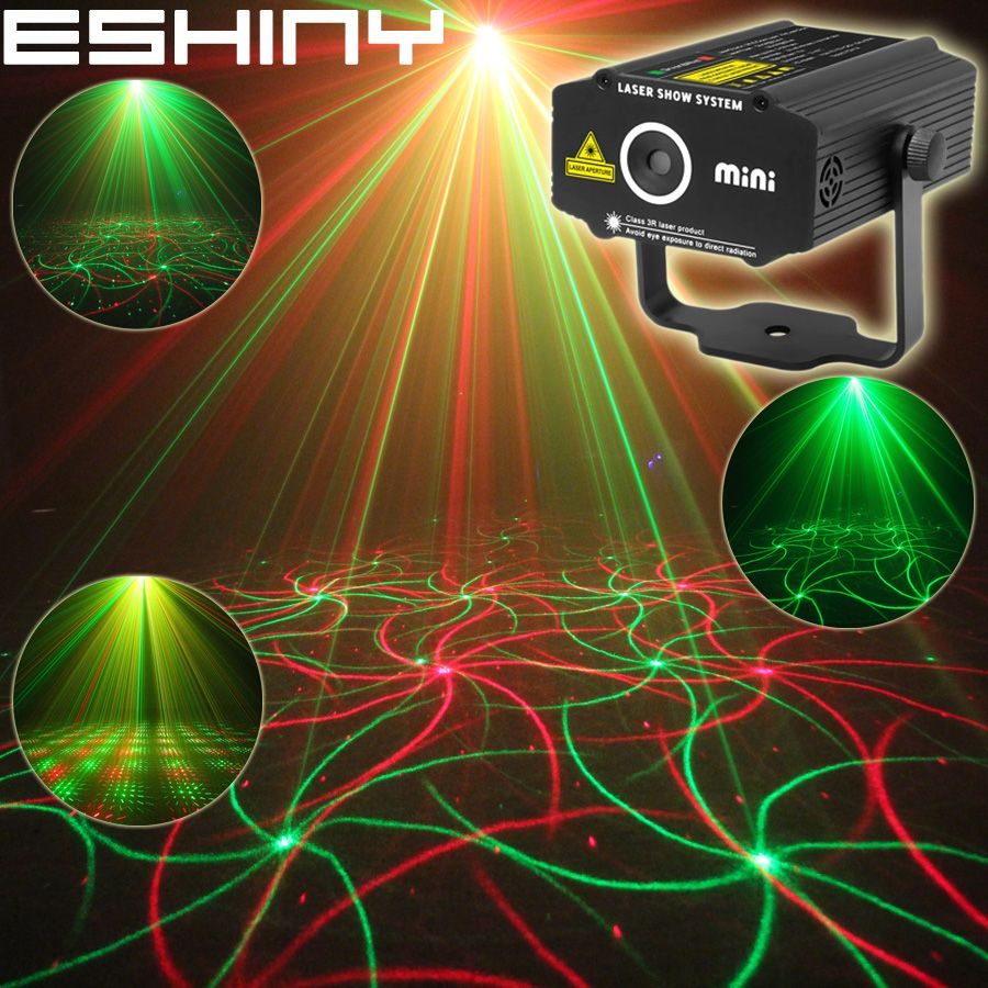 ESHINY Mini 2in1 Pattern Effect R&G Audio <font><b>Star</b></font> Whirlwind Laser Projector Stage Disco DJ Club Bar KTV Family Party Light Show P14