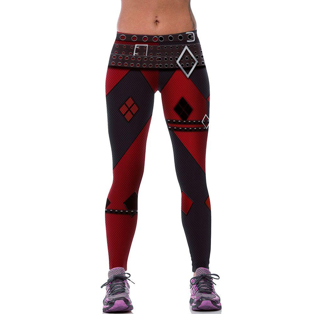 Nouveau Mode Femmes Leggings 3D Imprimé Imitation Punk Rock Ceinture Legins Leggins Entraînement Pantalon Legging Harley Quinn Sexy Taille Basse