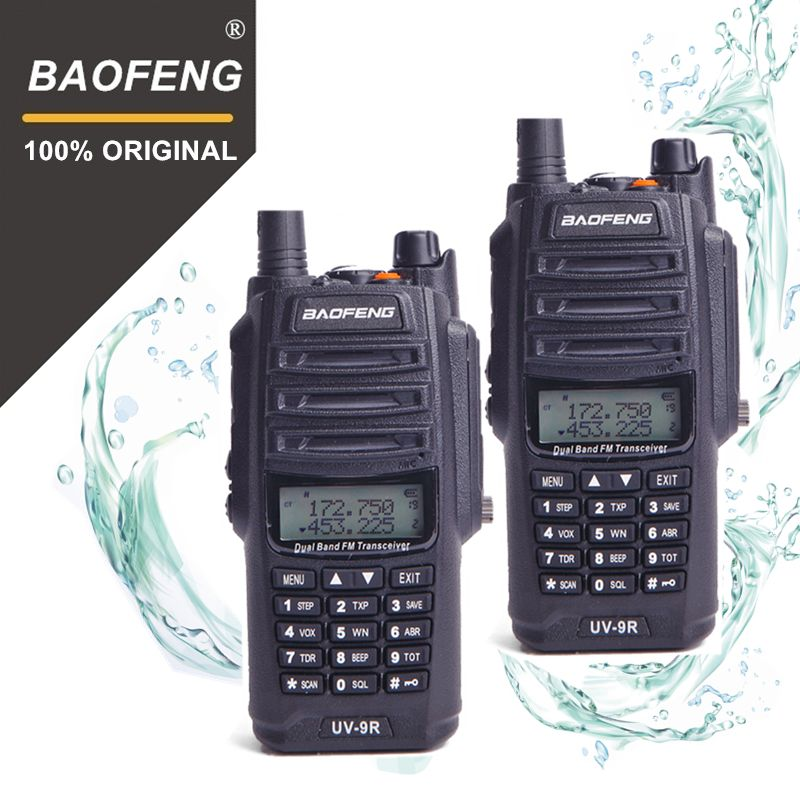 2Pcs 100% Original Baofeng IP67 UV-9R Walkie Talkie Waterproof 10km Dual Band UV9R Two Way Ham Radio Maritime Interphone