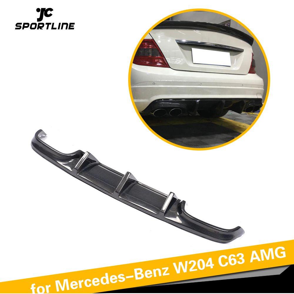W204 Carbon Faser Heckschürze Diffusor Lip Spoiler für Mercedes-Benz C-Klasse W204 C63 AMG Limousine 4 tür Nur 2008-2011