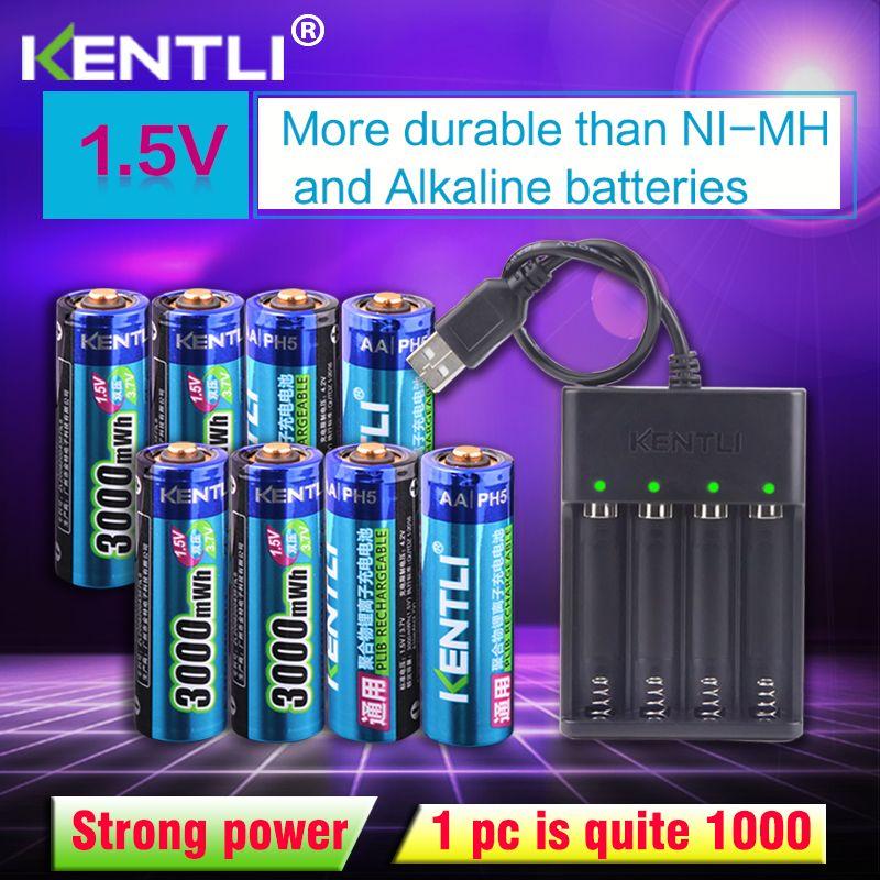 KENTLI 8 pièces 1.5 v 3000mWh AA rechargeable li-polymère li-ion polymère batterie au lithium + 4 emplacements USB chargeur intelligent