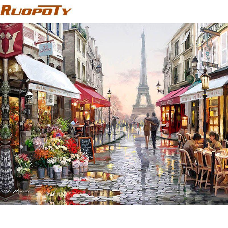 RUOPOTY Paris Street peinture à la main par numéros peint à la main toile peinture maison mur Art photo pour salon Unique cadeau 40X50