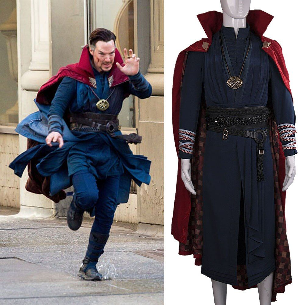 All Include Cosplay Doctor Strange Steve Full Set Costume & Ring Eye of Agamotto Necklace Free Halloween Party