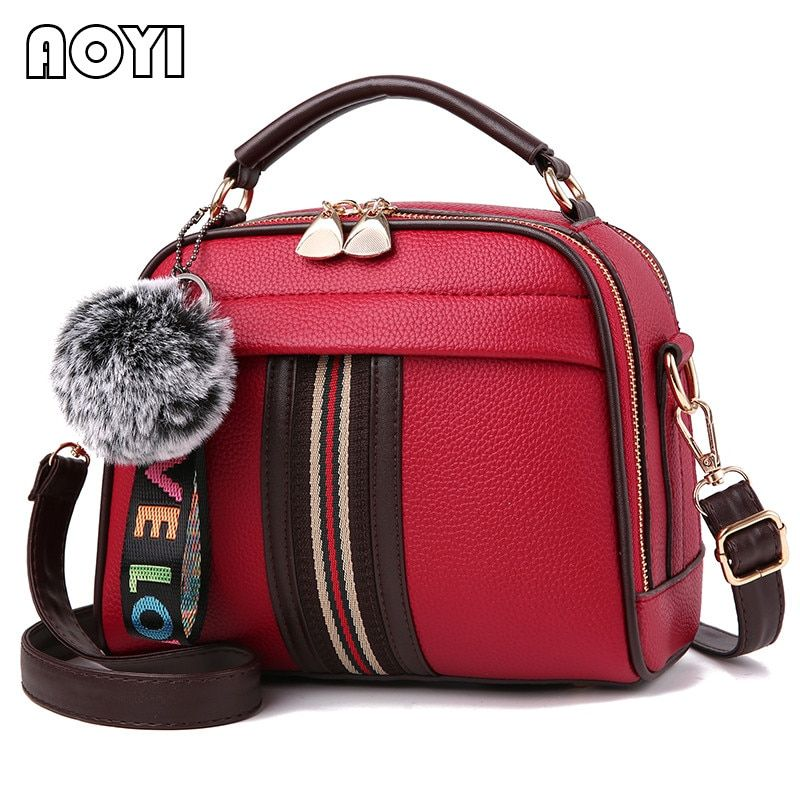 AOYI Women Shoulder Bag Fashion Patchwork Crossbody Bags Leisure PU Leather Handbag Messenger Bag for Lady Famous Brand Flap New