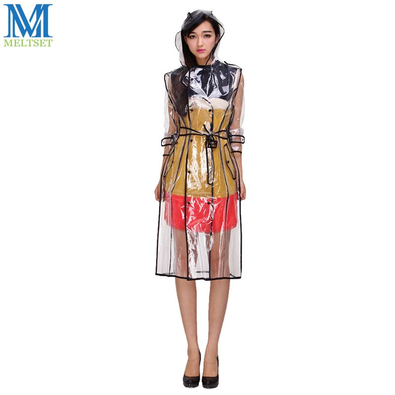 Mode EVA imperméable Transparent avec ceinture Long manteau de pluie femmes veste imperméable coupe-vent à capuche Poncho à l'extérieur vêtements de pluie