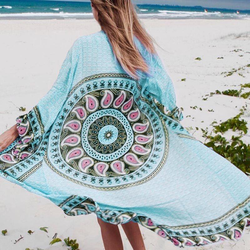 2018 Beach Cover up Lang Strand Baumwolle Kleider Tunika für strand Pareos Robe de Plage Druck Frauen Beachwear Bikini Abdeckung up