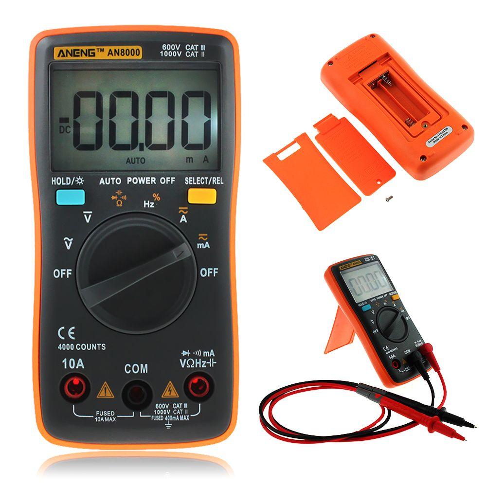 AN8000 4000 Counts <font><b>Portable</b></font> Digital Multimeter LCD Display Auto Range AC/DC Voltage Ammeter Multimeter With Storage Bag