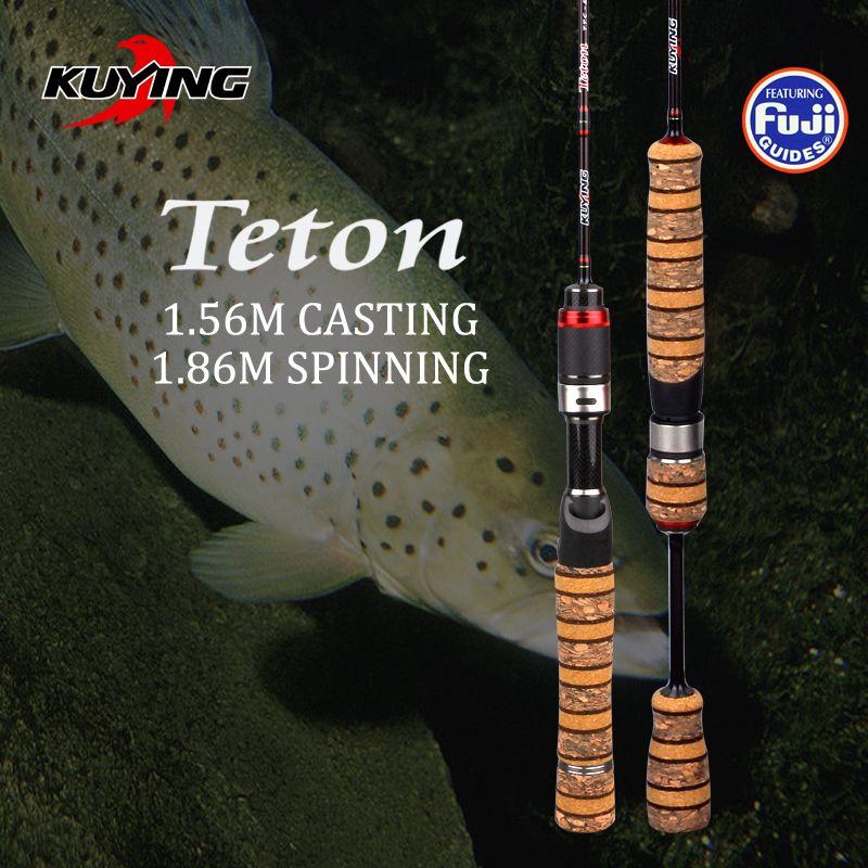KUYING Teton SUL Super Ultra-Léger 1.56 m 5'2'' Coulée 1.86 m 6'2'' Filer Doux Canne À Pêche En Carbone Leurre Poissons Canne 0.8-3g Leurres