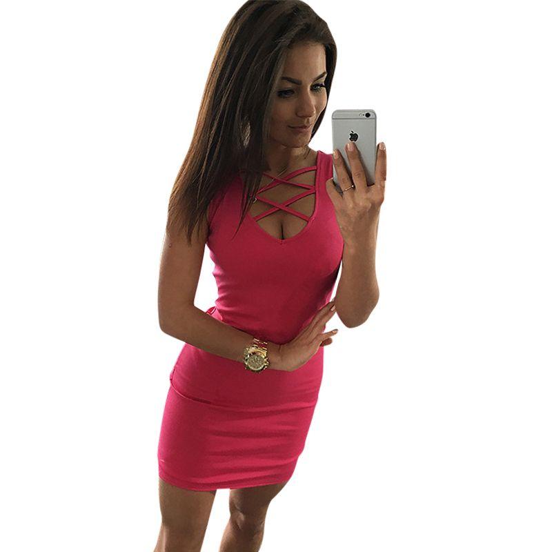 2019 été Sexy Slim femmes robe couleur unie u-cou croix ceinture robe sans manches grande taille paquet Hip robe