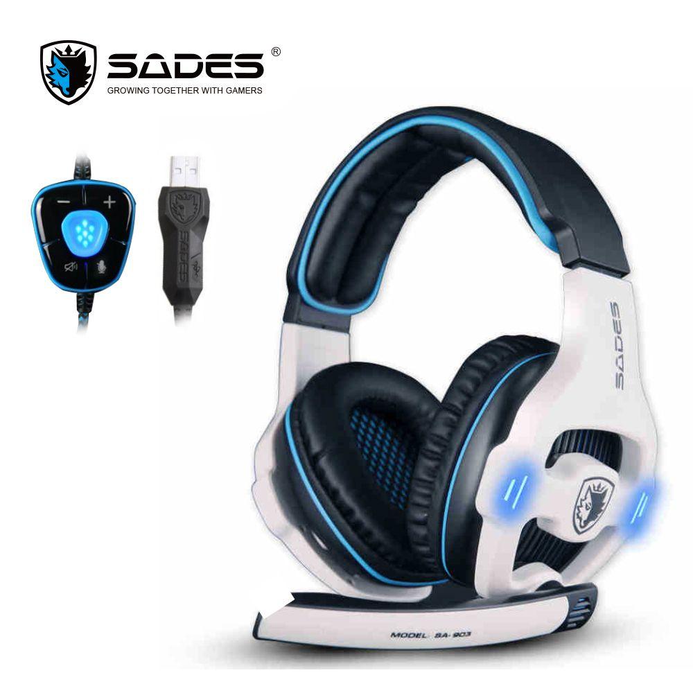 SADES SA903 Gaming Headset USB Headphones 7.1 Channel With Mic Remote <font><b>Control</b></font> USB Pl