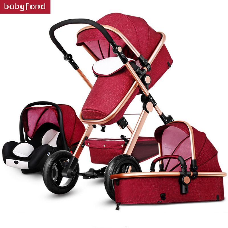 3-in-1 baby stroller 2017 the latest JTBS high landscape trolley can sit can be lying luxury strollers umbrella car