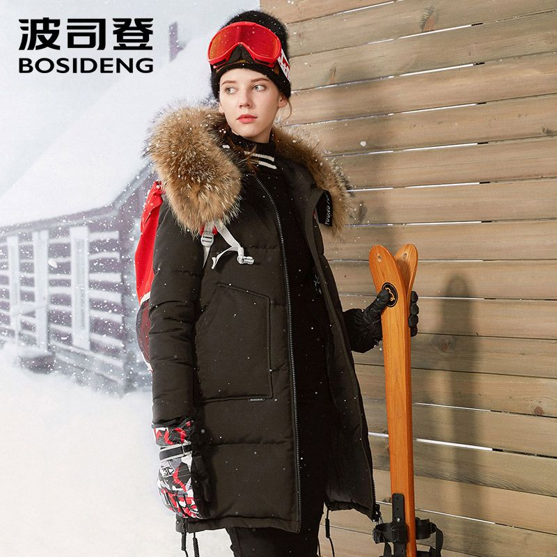BOSIDENG neue tiefe rauen winter frauen Kanada stil gänsedaunen daunenmantel X-Lange echtpelz dicken parka-30 hohe qualität b70142014