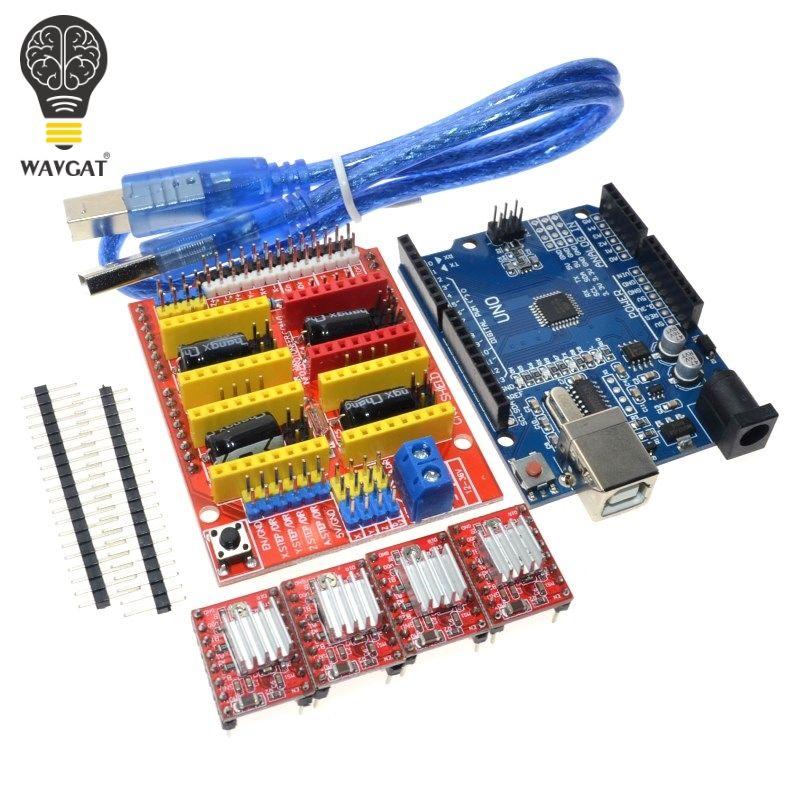 Livraison gratuite! cnc bouclier v3 machine de gravure 3D Imprimante + 4 pcs A4988 pilote carte d'extension pour Arduino + UNO R3 avec USB câble