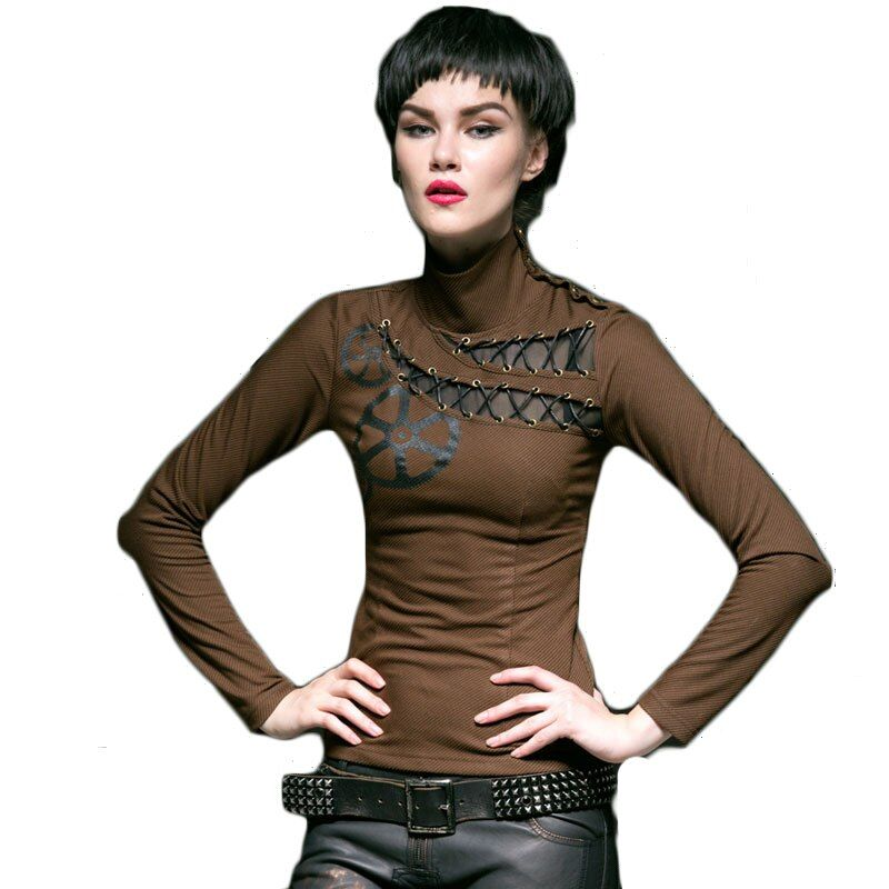 Gothic Punk Frauen Langarm Rollkragen T-shirt 2017 Frühling Slim Fit Baumwolle T-shirts Weibliche Mode Aushöhlen Top T-shirt